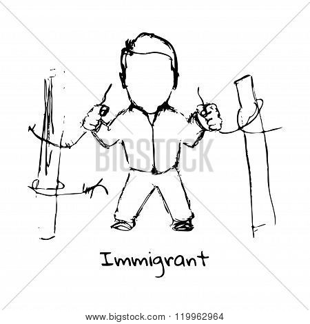 Drawing Of Refugee On A White Background