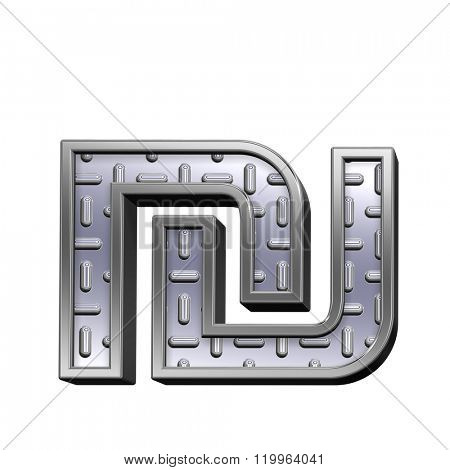 Sheqel sign from steel tread plate alphabet set, isolated on white. Computer generated 3D photo rendering.