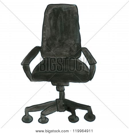 black chair on wheels isolated cartoon watercolor