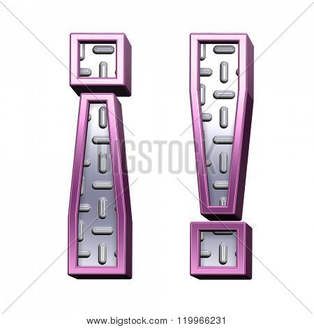 Exclamation mark from steel tread plate with purple frame alphabet set, isolated on white. Computer generated 3D photo rendering.