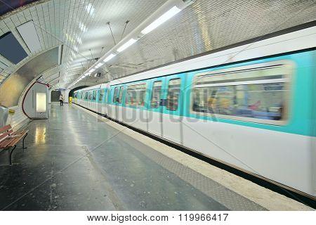 Paris, France, February 12, 2016: metro train in Paris, France. Metro is very popular transport in Paris