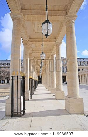 Paris, France - February 11, 2016: Le Palais Royal in the center of Paris, France
