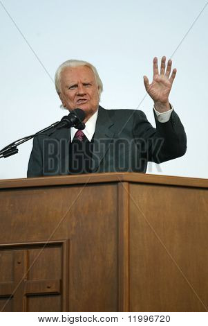 NEW YORK - JUNE 25: Rev. Billy Graham gestures as he preaches at his crusade June 25, 2005 in Flushing, New York.