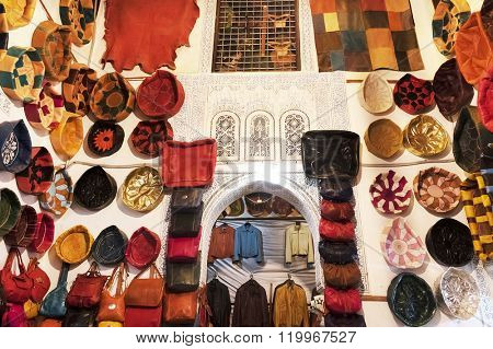 MARRAKESH, MOROCCO, OCTOBER 25, 2015. Traditional leather shop in Marrakesh, Morocco, Africa