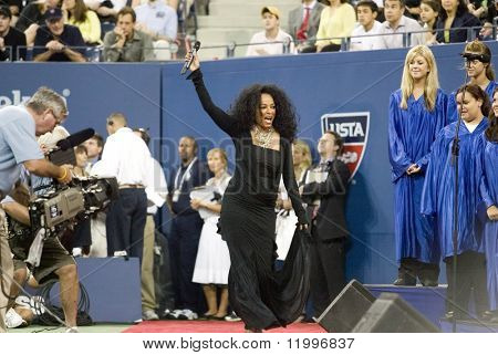 NEW YORK - AUGUST 28: Singer Diana Ross gestures before performing for the opening ceremony of the US Open at the USTA Billie Jean King National Tennis Center on August 28, 2006 in Flushing, New York.
