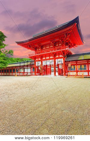 Shimogamo Shrine Angled Main Front Sunset Sky V