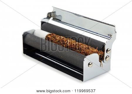 machine for rolling of cigarettes isolated on white