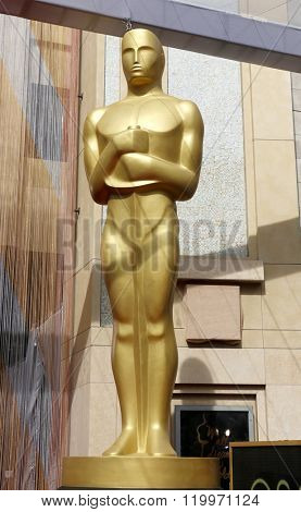 Oscar statue at the 88th Annual Academy Awards held at the Loews Hollywood Hotel in Hollywood, USA on February 28, 2016.