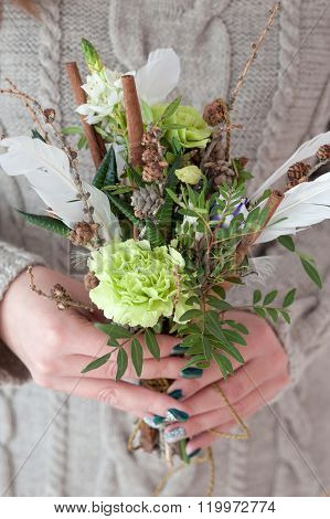 Stylish Bouquet Of Pistachio Color With Cinnamon And Feathers