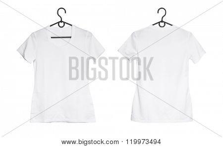 white woman t-shirt on hanger