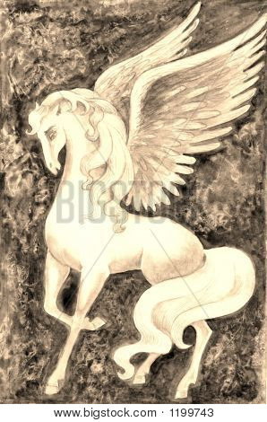 Stock Illustration Of Vintage White Pegasus