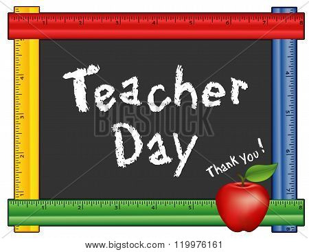 Teacher Day, Ruler Blackboard, Apple