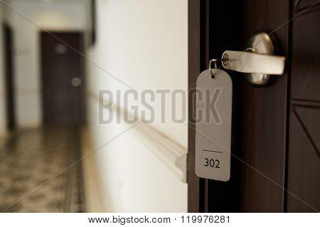 Closed hotel room door