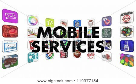 Mobile Services Apps Software Program Tiles Words