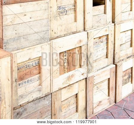 Wooden Crates Stack Wall