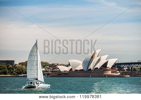 Boat Passing By The Sydney Opera House