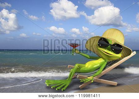 Frog In A Deckchair On The Beach