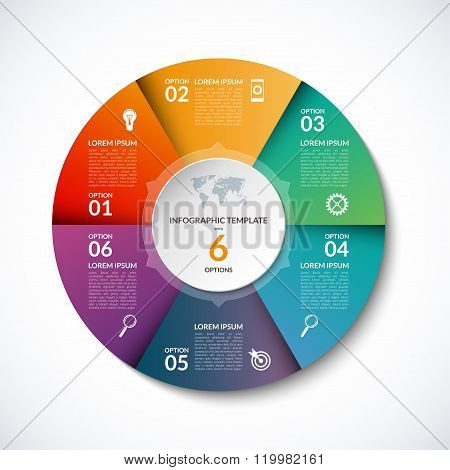Vector infographic circle template with 6 steps, parts, options