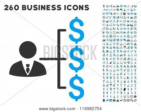 Banker Payments Icon with Flat Vector Set
