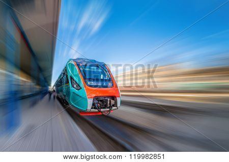 High-speed train with motion blur. Train at the railway station. Train station. Train at the station