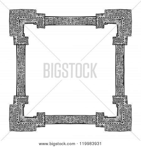 Swirl floral frame. Old black doodle border. Vector illustration