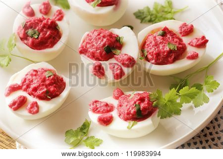 deviled eggs ( Bunny feet ) with beet