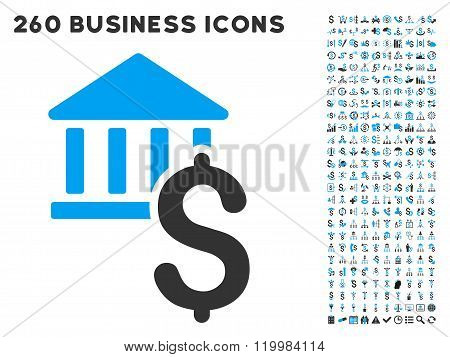 Dollar Bank Icon with Flat Vector Set
