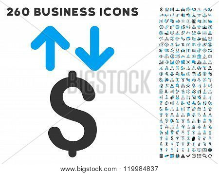 Dollar Transactions Icon with Flat Vector Set