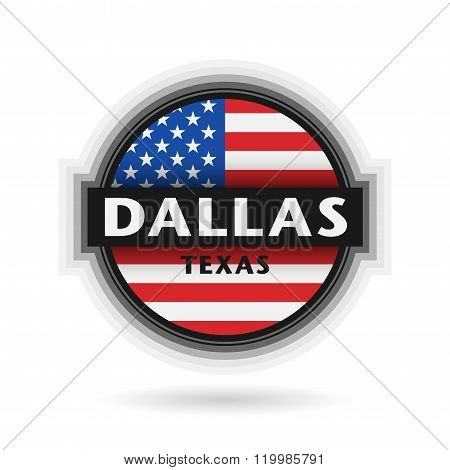 Emblem Or Label With Name Of Dallas, Texas