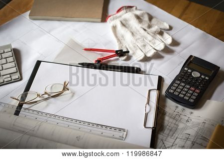 Wooden Desk With Open Notebook, Blueprint Rolled, Hamlet, Calculator In Retro Style