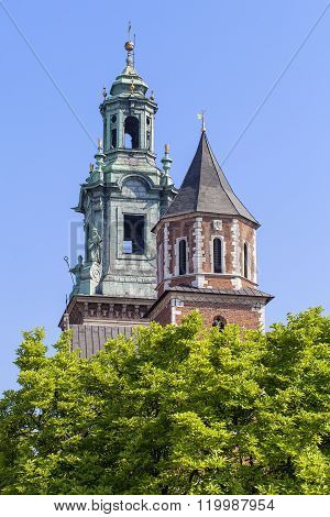 Wawel Royal Castle With Silver Bell Tower And Clock Tower, Cracow, Poland