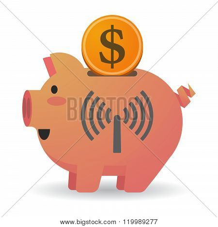 Isolated Piggy Bank With An Antenna
