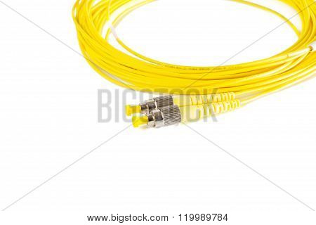 Fiber Optic Patchcord On White Background