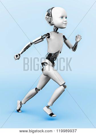 Robot Child Running.