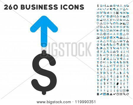 Send Dollar Icon with Flat Vector Set