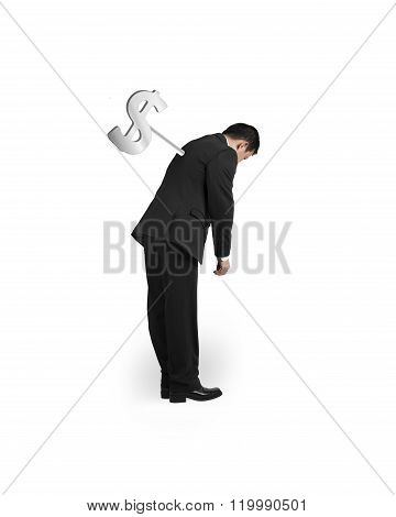 Businessman Tired With Money Winder On His Back