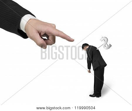Hand Pointing At Another Businessman Tired With Money Winder