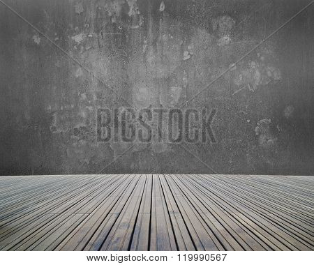Empty Room Interior With Concrete Wall And Wooden Floor
