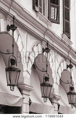 Greece. Corfu (kerkyra) Island. Corfu Town. Street Lamp. In Sepia Toned