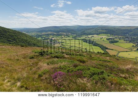View of Porlock countryside Somerset England uk from the walk to Bossington