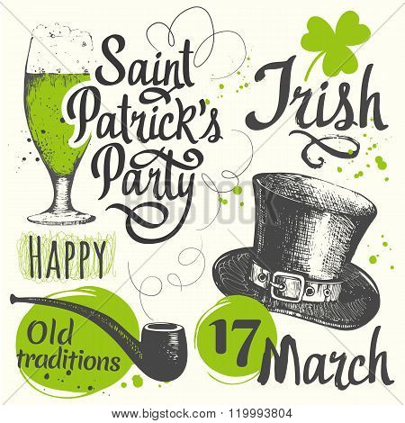 Holiday labels in sketch style for St. Patrick's Day.