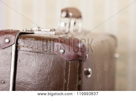 old vintage suitcase closeup in the background wallpaper