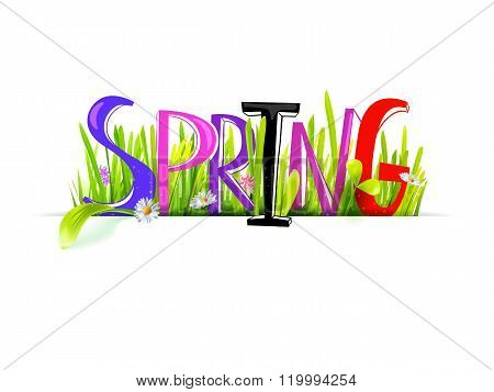 Spring colored word at realistic grass