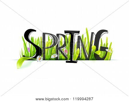 Spring lettering at realistic grass