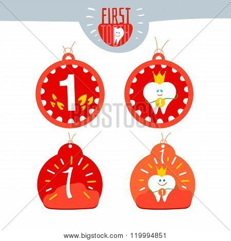 Baby First tooth Vector medal set