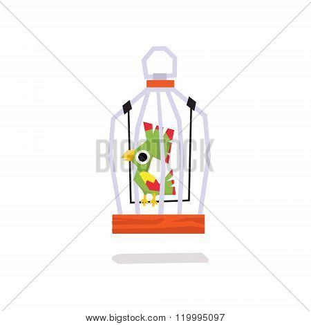 Parrots in a Cage. Vector Illustration