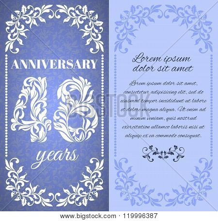 Luxury Template With Floral Frame And A Decorative Pattern For The 48 Years Anniversary. There Is A