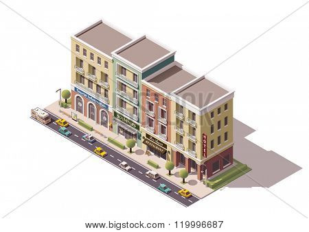 Isometric town street with tourism related buildings