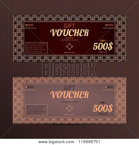 Gift voucher in luxury style.