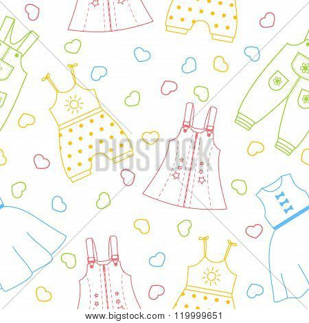Cute seamless pattern with children's dresses
